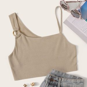 Tan asymmetrical crop top